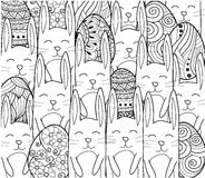 横幅愉快的复活节 与装饰装饰元素,兔子,兔宝宝的复活节彩蛋 库存图片