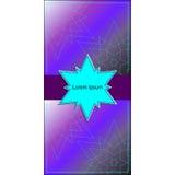 横幅或卡片与深蓝星在中心和稀薄的星在紫罗兰 库存照片