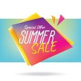 横幅或po的夏天销售标题设计五颜六色的锋利的形状 库存例证