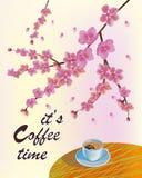 横幅春天叶子开花的樱花 在桌上的咖啡在春天 时刻喝咖啡 向量例证