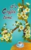 横幅春天叶子开花的樱花 在桌上的咖啡在春天 时刻喝咖啡 库存例证
