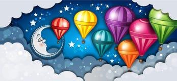 横幅月亮和热空气气球 皇族释放例证