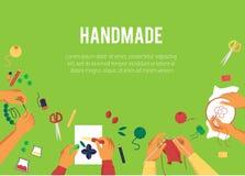 横幅有创造手工制造工作动画片样式的各种各样的手顶视图  库存例证