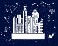 横幅未来派城市手拉的剪影传染媒介例证 库存图片