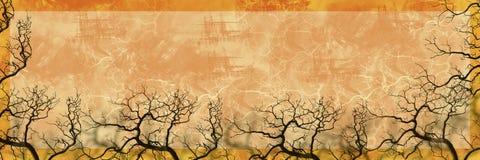 横幅本质剪影结构树 免版税库存照片