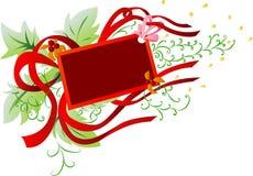 横幅框架红色丝带 免版税库存图片