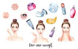 横幅水彩粉刺,丘疹,皱痕,干燥,鸥,在眼睛下的黑眼圈 向量例证