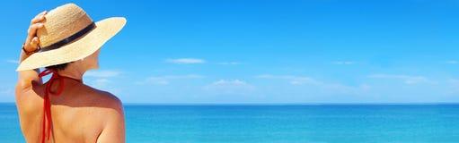 横幅海滩 库存照片