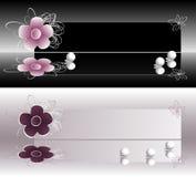 横幅独有的花标记珍珠 免版税图库摄影