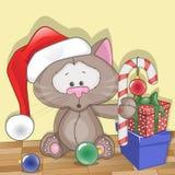 横幅猫圣诞节安排您圣诞老人的文本 库存照片
