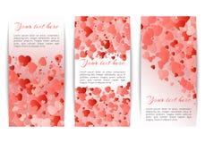 横幅的汇集与心脏五彩纸屑的 库存例证