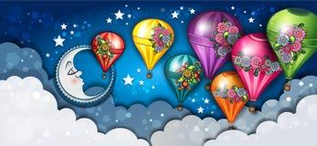 横幅花卉月亮和热空气气球 向量例证