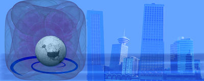 横幅蓝色商务标头成功 向量例证