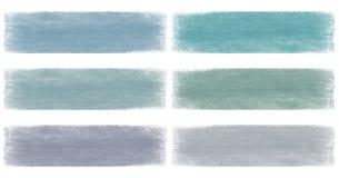 横幅蓝色退了色grunge集 免版税库存照片
