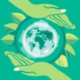 横幅蝴蝶庆祝的逗人喜爱的日环境开花瓢虫映射世界 变褐环境叶子去去的绿色拥抱本质说明说法口号文本结构树的包括的日地球 在环境的保存题材的海报  行星是在人的手里 图库摄影