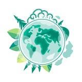 横幅蝴蝶庆祝的逗人喜爱的日环境开花瓢虫映射世界 变褐环境叶子去去的绿色拥抱本质说明说法口号文本结构树的包括的日地球 行星的生态和保护 库存例证