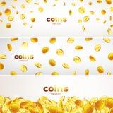 横幅设置了 在另外位置例证,颜色背景的落的金币 图库摄影