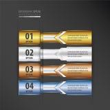 横幅设计箭头样式金子,古铜,银,蓝色颜色 库存例证