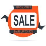 横幅销售模板橙色设计 免版税库存照片