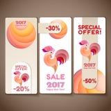 横幅销售设置了雄鸡的新年 免版税库存图片