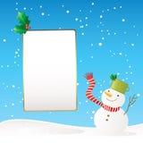 横幅雪人冬天 库存照片