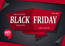 横幅黑色星期五销售额 与红色设计的黑色 免版税库存照片