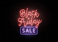 横幅黑色星期五销售额 光亮浅红色和蓝色类型字法文本标志 库存例证