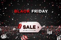 横幅黑色星期五销售额 纸3d箱子 概念性折扣海报 也corel凹道例证向量 库存图片