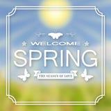 横幅,设计的海报 喂春天 欢迎 以模糊的天空、绿色草坪和太阳为背景 库存例证