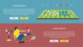 横幅-平的象被设置足球元素 免版税图库摄影