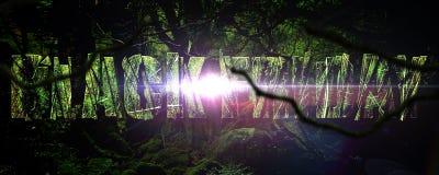 横幅黑星期五在密林 免版税库存图片