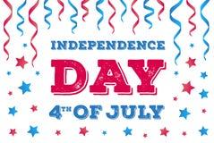 横幅7月四日 与五颜六色的丝带和星的美国独立日卡片 免版税库存照片