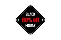横幅黑色星期五销售额 增进折扣标签 免版税库存照片