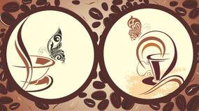 横幅蝴蝶咖啡具 免版税库存图片
