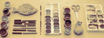 横幅A套创造性和图画爱好的材料 免版税图库摄影