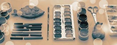 横幅A套创造性和图画爱好的材料 免版税库存图片