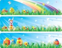 横幅colorfol复活节集 库存图片