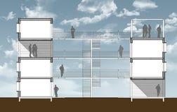 横断面住宅buiding与外部存取 向量例证