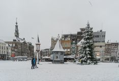 横渡与在中心的人们积雪的Markt一棵圣诞树在登博斯的中心 图库摄影