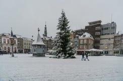 横渡与在中心的人们积雪的Markt一棵圣诞树在登博斯的中心 免版税库存照片