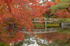 横渡有水反射的日本桥梁一个池塘在禅宗庭院里 库存图片