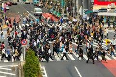横渡涩谷行人穿越道 库存照片