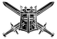 横渡的剑和骑士盔甲例证 库存例证