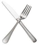 横渡的叉子和刀子 笤帚查出的白色 免版税库存照片