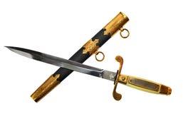 横渡的小剑和刀鞘在白色 免版税库存照片