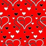 横渡的无缝的黑白心脏 免版税库存图片