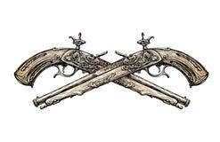 横渡的葡萄酒手枪 手拉的剪影古老武器 决斗 也corel凹道例证向量 库存图片