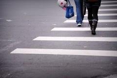 横穿线路步行者斑马 免版税库存照片