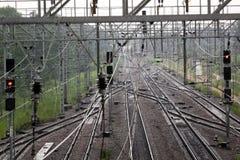 横穿连接点光透视图铁路运输铁路业务量培训 免版税图库摄影