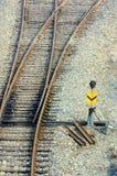 横穿铁路铁路符号跟踪 库存照片
